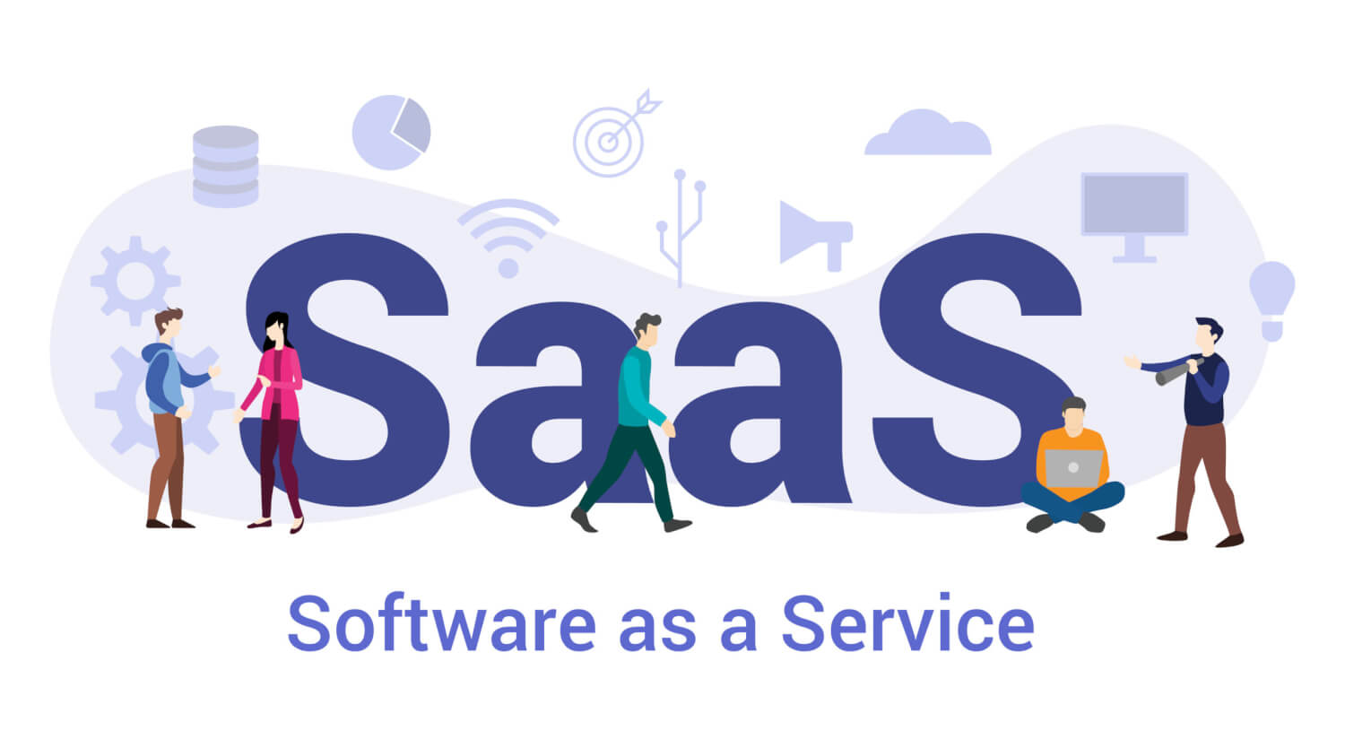 saas software as a service concept with big word or text and team people with modern flat style - vector